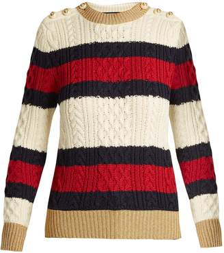 Gucci Striped cable-knit wool sweater