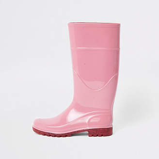 River Island Womens Pink glitter sole wellie boots