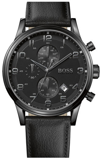 BOSS Men's Leather Strap Chronograph Watch, 44Mm