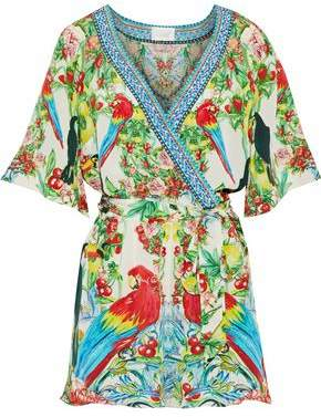 Camilla One Flew Over Wrap-Effect Embellished Printed Silk Playsuit