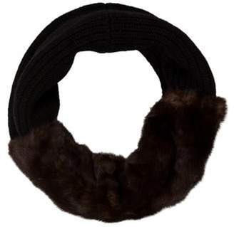 Sally LaPointe Mink Fur Knit Snood Brown Mink Fur Knit Snood