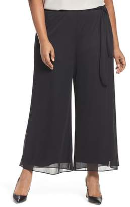 Alex Evenings Tie Waist Wide Leg Pants