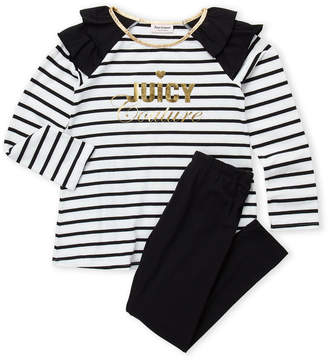 Juicy Couture Girls 7-16) Two-Piece Striped Top & Black Leggings Set