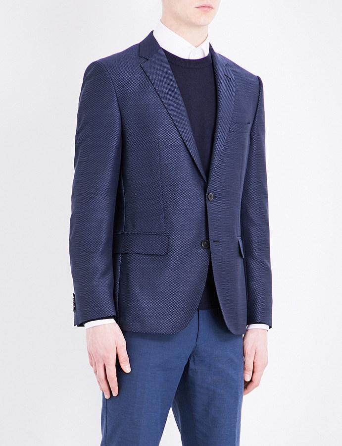 Hugo BossHugo Boss Elbow-pad slim-fit pure-wool jacket