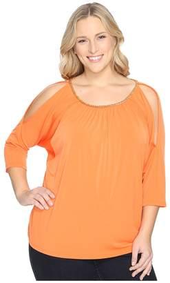 MICHAEL Michael Kors Size Chain Neck Cold Shoulder Top Women's Clothing