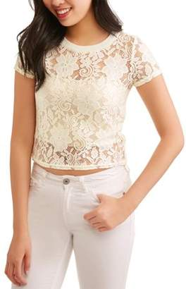 No Boundaries Juniors' All Over Lace Cropped Blouse