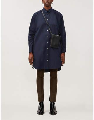 Sacai Contrast-insert drawstring-hem woven mini dress