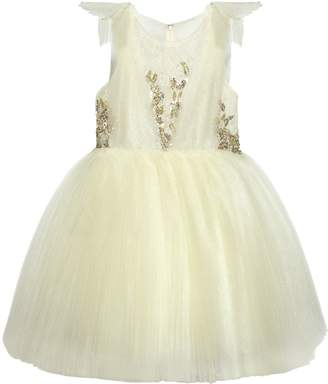 Lace & Plissé Stretch Tulle Party Dress