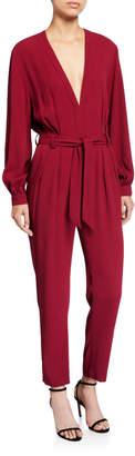 IRO Julliaca Plunging Long-Sleeve Belted Jumpsuit