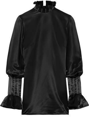 Athena Beaufille Open-back Ruffled Satin Blouse