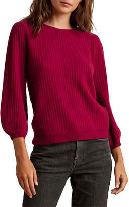 Velvet Cashmere Sweater With-Sleeve Detail