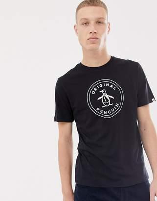 Original Penguin circle logo t-shirt in black