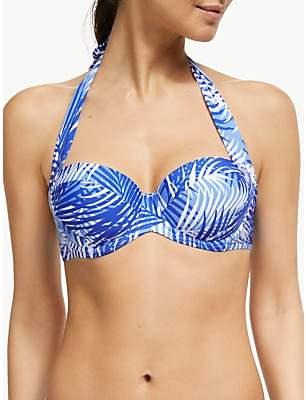 John Lewis & Partners Sombre Palm Sling Halter Bikini Top, Marina
