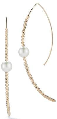 Mizuki Gold Bead and Genuine Pearl Marquise Hoop Earrings