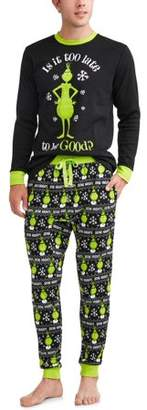 Dr. Seuss Grinch Family Sleep Long Sleeve Tee & Jogger Pants, 2-piece Pajama Set (Men's)