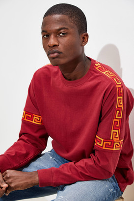 Urban Outfitters Drop Shoulder Ribbed Long Sleeve Red Tee