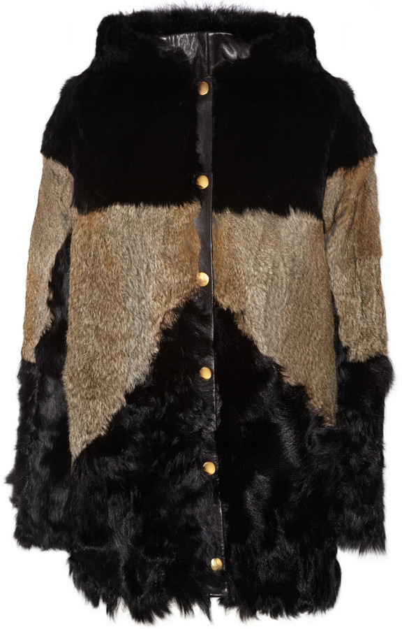 Maje Roger hooded rabbit and shearling coat