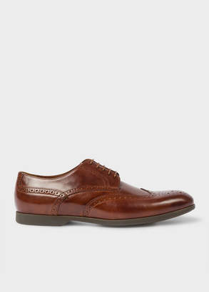 Paul Smith Men's Dark Tan Leather 'Ryan' Brogues With Travel Soles