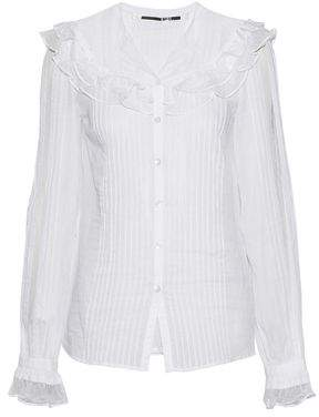McQ Point D'espirit-Trimmed Pintucked Cotton-Voile Top