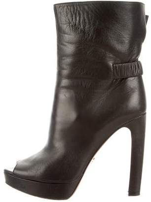 Prada Leather Peep-Toe Boots