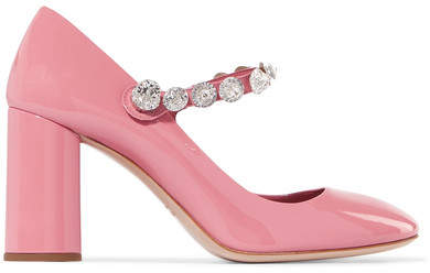 Miu Miu - Crystal-embellished Patent-leather Mary Jane Pumps - Pink
