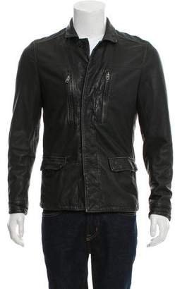 AllSaints Button-Up Leather Jacket