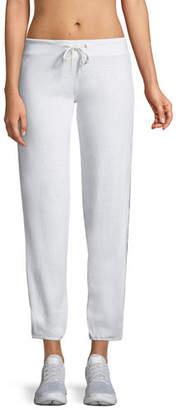 Monrow Heathered Drawstring Side-Stripe Sweatpants