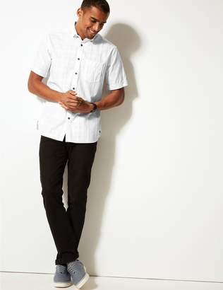 Marks and Spencer Pure Cotton Textured Shirt with Pocket