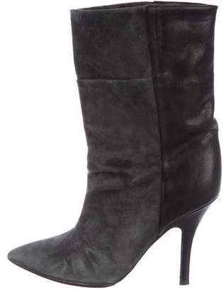 Isabel Marant Suede Pointed-Toe Mid-Calf Boots