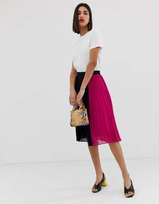 Vero Moda color block pleated midi skirt