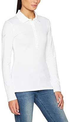 Trigema Women's Polo Shirt Long-Sleeved Polo Shirt with Swarovski Crystals Size (Manufacturer Size: XXL), White (White 001)