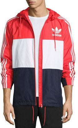 Adidas Logo Colorblock Wind-Resistant Track Jacket, Red/Navy/White $75 thestylecure.com
