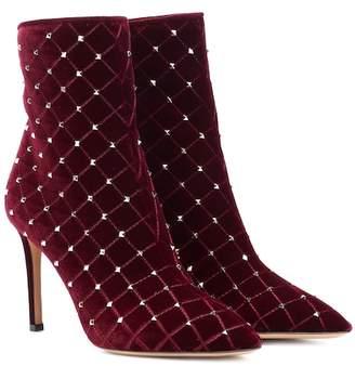 Valentino Rockstud Spike velvet ankle boots