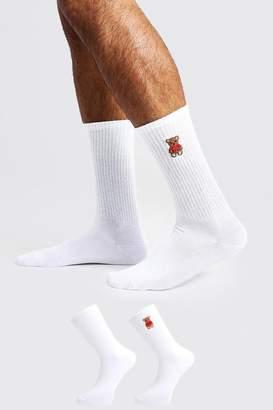 boohoo 2 Pack Teddy Embroidered Tube Socks
