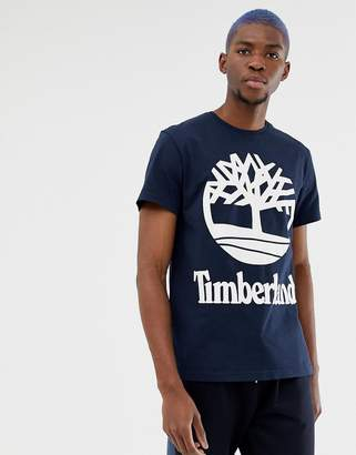 Timberland Large Stacked Logo T-Shirt Slim Fit in Navy