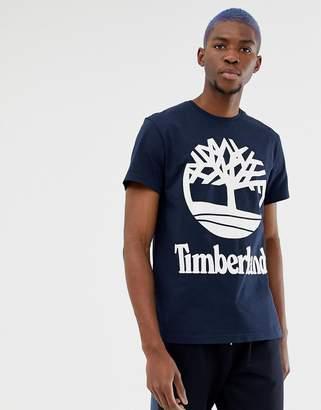 Timberland (ティンバーランド) - Timberland Large Stacked Logo T-Shirt Slim Fit in Navy