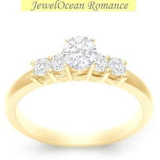JeenJewels 0.58 Carat Discount Engagement Ring with Round cut Diamond on 14K Yellow gold