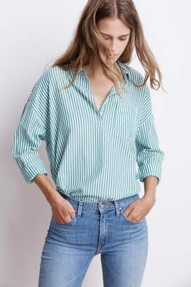 Velvet by Graham & Spencer IDONA COTTON STRIPE POPOVER SHIRT