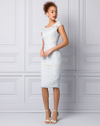 Le Château Lace & Mesh Scoop Neck Shift Dress