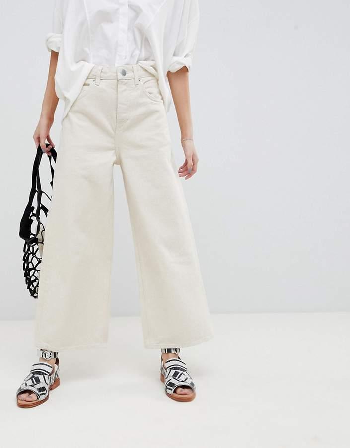 ASOS DESIGN Premium Wide Leg Jeans In Bone White