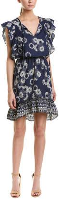 Glam Print Ruffle Sleeve Peasant Dress