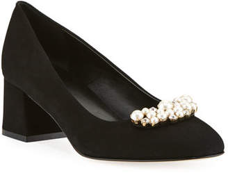 Sesto Meucci Mindy Low-Heel Pearly Ornament Pumps, Black