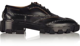 Balenciaga - Topstitch Derby Leather Brogues - Black $1,255 thestylecure.com