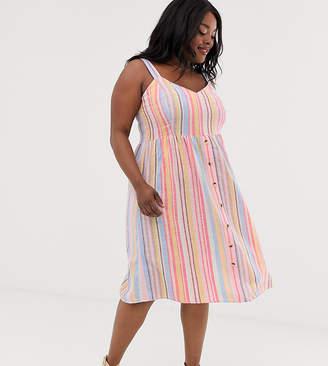 New Look Plus Curve linen stripe midi dress in pink pattern