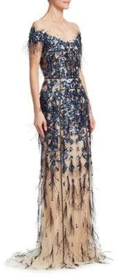 Pamella Roland Sequin Off-The-Shoulder Crystal-Embellished Gown