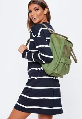 4518cd9e7d Missguided Khaki Canvas Utility Backpack