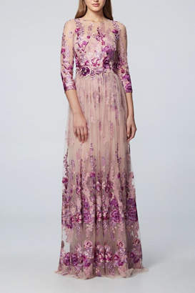 David Meister 3/4 Sleeve Gown