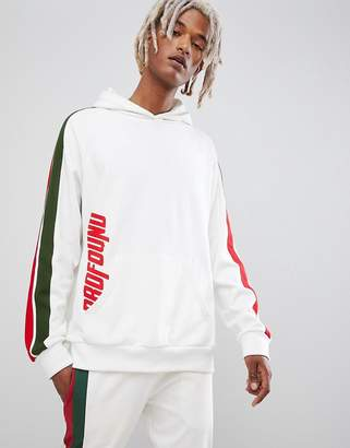 Profound Aesthetic stripe panel track hoodie in white