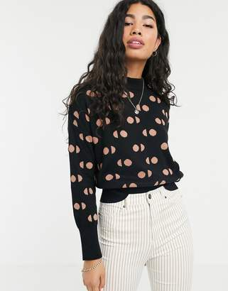 People Tree high neck jumper in spot print