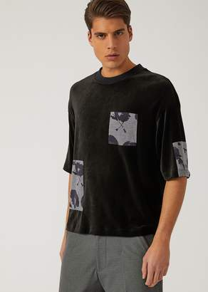 Emporio Armani Short-Sleeved Chenille Sweatshirt With Patch Detail